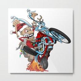 Biker Santa Metal Print