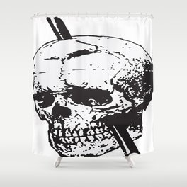 Frontal Lobotomy Skull Of Phineas Gage Vector Isolated Shower Curtain