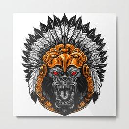 Tribal Groilla Face Metal Print