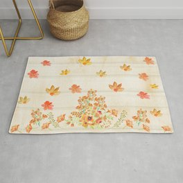 Autumn Flowers in Watercolor Rug