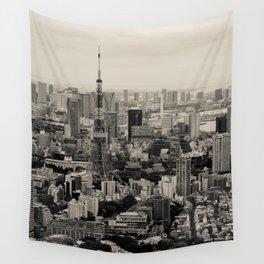 Sepia Tokyo Wall Tapestry
