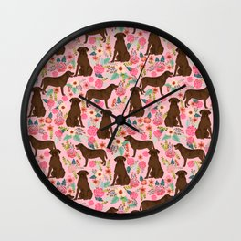 Chocolate Labrador Retriever dog floral gifts must haves chocolate lab lover Wall Clock