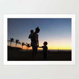 A Mother's Love - Broome Sunset Silhouette Art Print