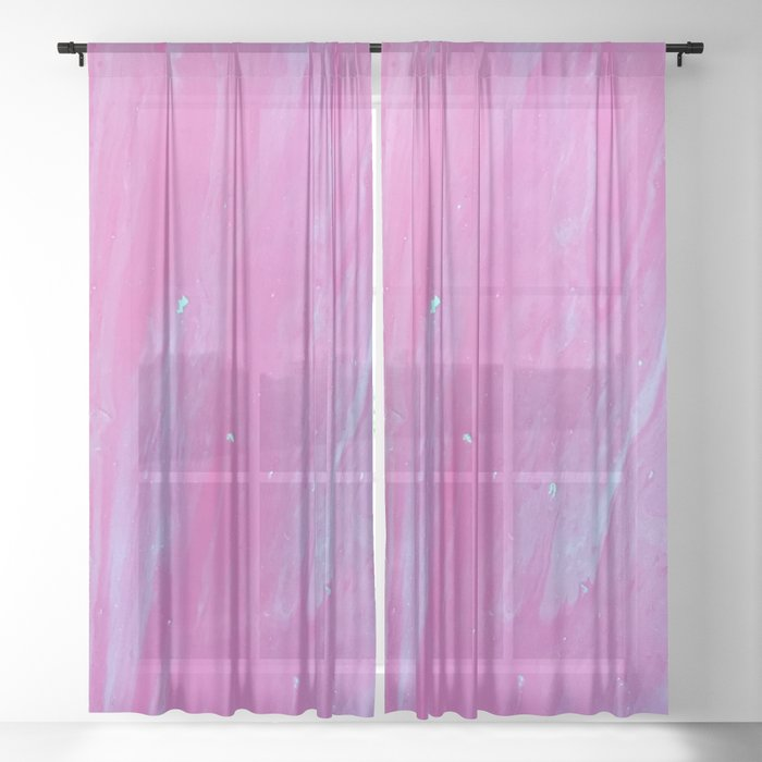 Hot Pink Marble Sheer Curtain