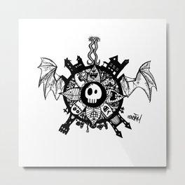 Monster Mandala flying skull Metal Print