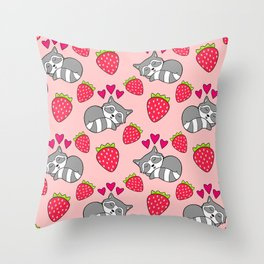 Cute funny sweet adorable sleeping baby raccoons, little pink hearts and red ripe summer strawberries cartoon light pastel coral red pattern design Throw Pillow