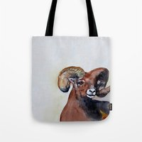 ram Tote Bags featuring Ram  by Woolpecula