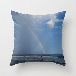 Myrtle Beach Rainbow Throw Pillow
