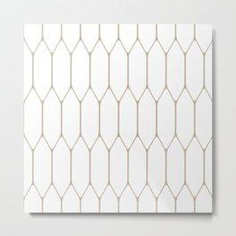 Long Honeycomb - Minimalist Geometric Pattern in Neutral Flax and White Metal Print