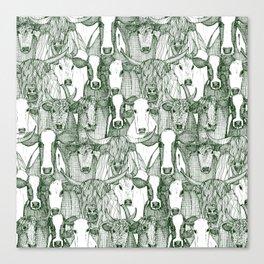 just cattle dark green white Canvas Print