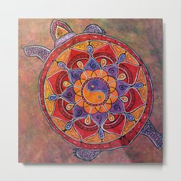 Autumn Turtle - yin yang mandala Metal Print