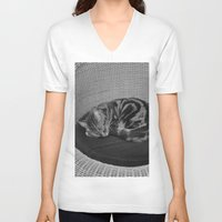 sofa V-neck T-shirts featuring sleeping cat on sofa by gzm_guvenc