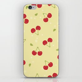 Red cherries in a yellow background iPhone Skin