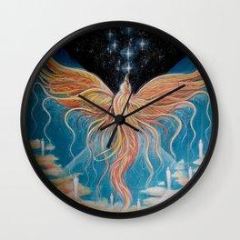 Ascension // Visionary Art Phoenix Spirit Soul Consciousness Spiritual Chakra Awakening Lightworker Wall Clock