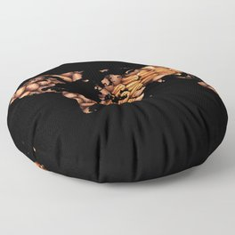 World Map Silhouette - Pecans in a Design Floor Pillow