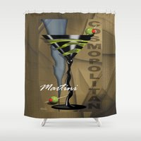 martini Shower Curtains featuring COSMOPOLITAN MARTINI by Cheryl Daniels
