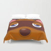 animal crossing Duvet Covers featuring Animal Crossing Tom Nook by ZiggyPasta