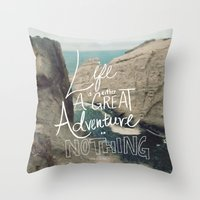 adventure Throw Pillows featuring Great Adventure by Leah Flores