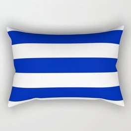 Blue (Pantone) - solid color - white stripes pattern Rectangular Pillow