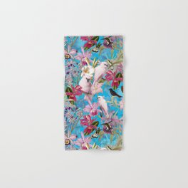 Vintage & Shabby Chic - Pink Tropical Birds and Orchid Flower Pattern Hand & Bath Towel