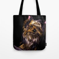yorkie Tote Bags featuring Yorkie Terrier by Eliza Leahy