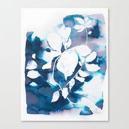 Indigo Blue Botanical Canvas Print