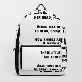 Parts of Speech Rhyme Backpack