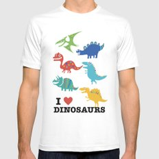 I love dinosaurs MEDIUM White Mens Fitted Tee