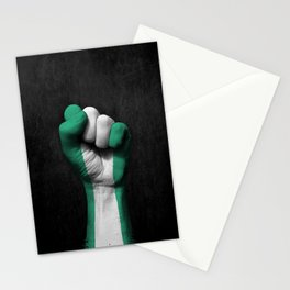 Nigerian Flag on a Raised Clenched Fist Stationery Cards