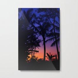 Tropical Palm Tree Sunset Blue and Orange Metal Print