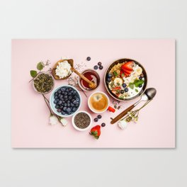 Heart made with Healthy breakfast set Canvas Print