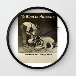 Vintage Be Kind To Animals Advert - Black and White Wall Clock