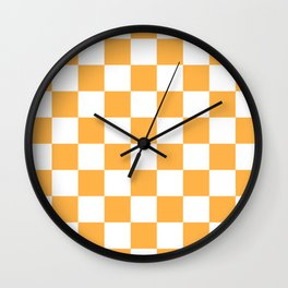 Checkered - White and Pastel Orange Wall Clock