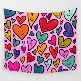 Smiling Heart Print Wall Tapestry