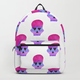 Skull with Heart Eyes Pattern in Pink Purple Backpack