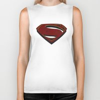 man of steel Biker Tanks featuring Superman - Man of Steel by ochre7