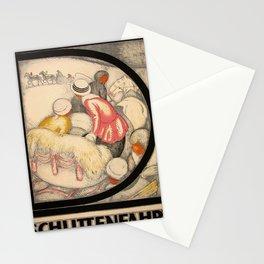 Retro Placard Schlittenfahrt Stationery Cards