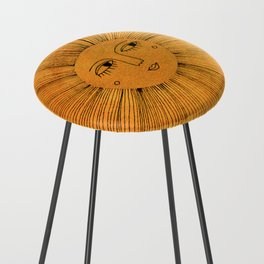 Sun Drawing - Gold and Blue Counter Stool