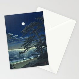 Kawase Hasui, Moonlight Over Ninomiya Beach - Vintage Japanese Woodblock Print Art Stationery Cards