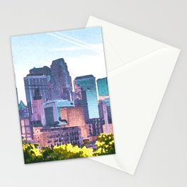 Minneapolis Minnesota Skyline Painted Style Stationery Cards