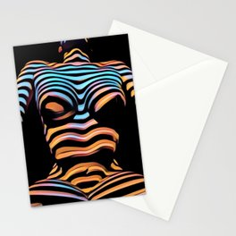1205s-MAK Shadow Striped Female Torso Rendered Composition Style Stationery Cards