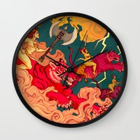 patriarchy Wall Clocks featuring The Conquering of Man by Henri Scribner