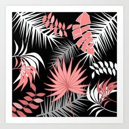 Black and white flamingo pink color leaves summer tropical leaf Art Print