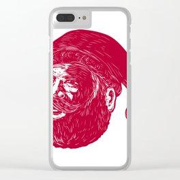 Santa Claus Head Woodcut Clear iPhone Case