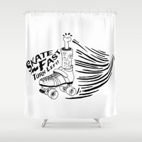 roller derby Shower Curtains featuring Roller Derby - Skate Fast Turn Left by Grilldress