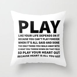 Heart Is All You Got Typography Throw Pillow