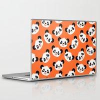 pandas Laptop & iPad Skins featuring Happy Pandas by Sara Showalter