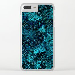 Starry Deep Blue Night Sky , Abstract Geometric Pattern with Moon Lit Domino Stars Clear iPhone Case