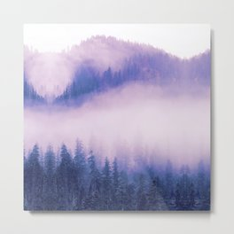 heather purple peaceful foggy day forest landscape photography Metal Print