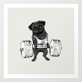 Black Pug Lift Art Print